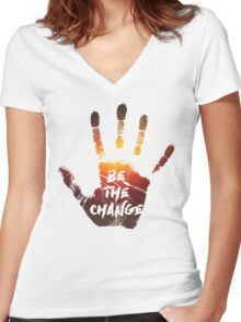 Be The Change | Colour  Women's Fitted V-Neck T-Shirt