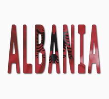 Albania Word With Flag Texture Baby Tee