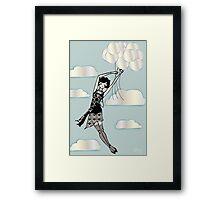Floating Flapper Blue Framed Print