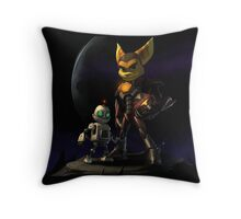 Ratchet and Clank in action Throw Pillow