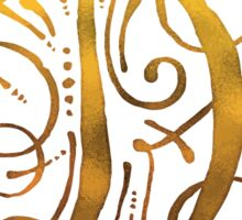 Golden Monogram Calligraphy Letter D Sticker