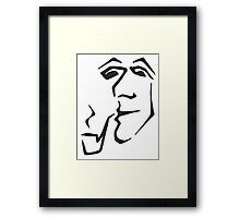 Man With Pipe (black) Framed Print