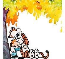 Calvin and Hobbes Under Tree Photographic Print
