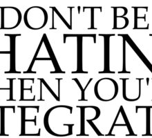 Don't be Hatin' when you're Integratin' Sticker
