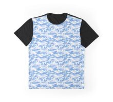 Military Camouflage Pattern - Blue White  Graphic T-Shirt