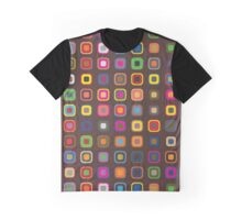 Retro Squares, Squared Pattern - Red Yellow Green Graphic T-Shirt