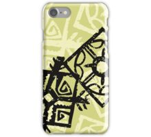 African Pattern, Tribal Motif - Green Black  iPhone Case/Skin