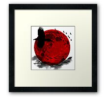 Moon - Red Moon and Birds Framed Print