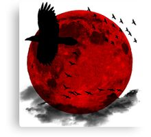 Moon - Red Moon and Birds Canvas Print