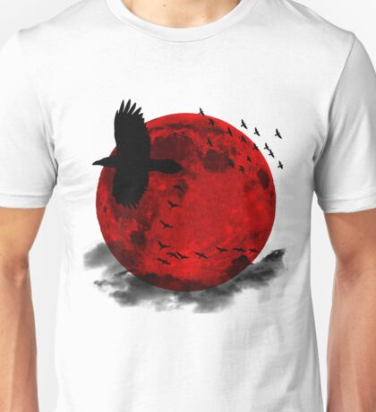 Moon - Red Moon and Birds Unisex T-Shirt