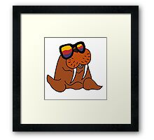 Hilarious Cool Walrus in Sunglasses  Framed Print