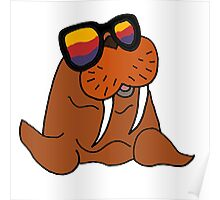 Hilarious Cool Walrus in Sunglasses  Poster