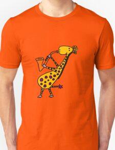 Funny Cool Giraffe Playing Orange Saxophone Unisex T-Shirt