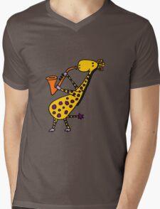 Funny Cool Giraffe Playing Orange Saxophone Mens V-Neck T-Shirt