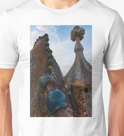 Up Close and Personal - Antoni Gaudi Dragon Back and Cross Turret at Casa Batllo Unisex T-Shirt