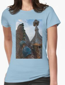 Up Close and Personal - Antoni Gaudi's Dragon's Back and Cross Turret at Casa Batllo Womens Fitted T-Shirt