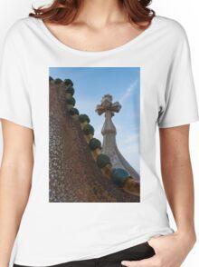 Capricious Trencadis Mosaics - Antoni Gaudi's Dragon's Back and Cross Turret at Casa Batllo Women's Relaxed Fit T-Shirt