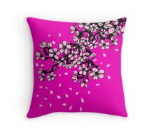 Sakura Cherry blossom falling petals Throw Pillow