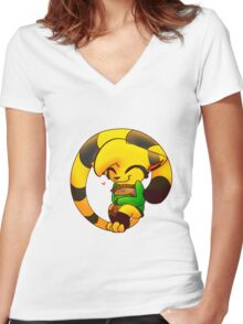 Cookie Cat Women's Fitted V-Neck T-Shirt