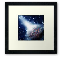 Space background with a planet Framed Print
