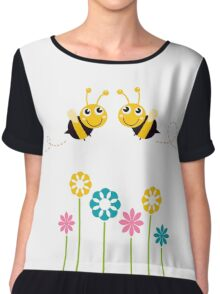 Lovely Bees flying around flowers Chiffon Top
