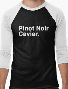 Pinot Noir Caviar (white font) Men's Baseball ¾ T-Shirt