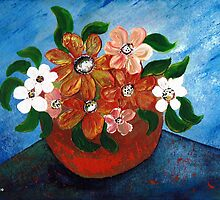 A pot full of flowers by Elizabeth Kendall