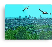 Scooting over the city by #fftw Metal Print