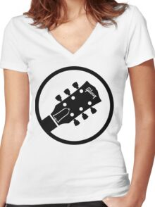 gibson  stylized headstock black Women's Fitted V-Neck T-Shirt