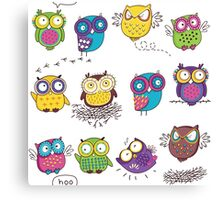 Comics owls Canvas Print