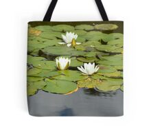 White Water Lilies on a Garden Pond Tote Bag