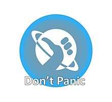 Don't Panic! Hitchhikers guide to the galaxy themed dont panic, thumbs up symbol, blue, minimal Photographic Print