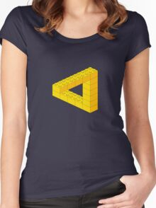Lego-style impossible Penrose triangle shape Women's Fitted Scoop T-Shirt