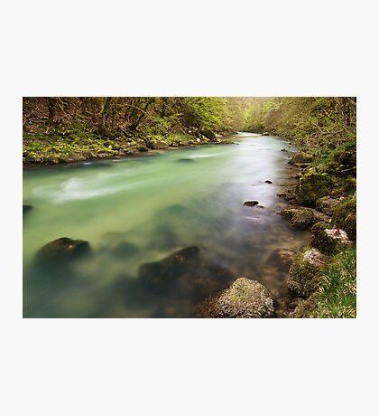 Dusk light on Valserine river Photographic Print