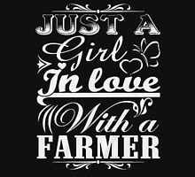 just a girl in love with a farmer Womens Fitted T-Shirt