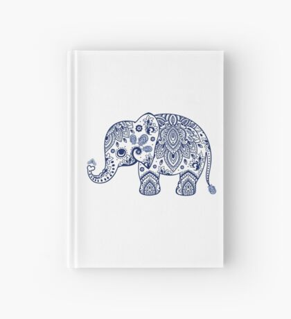 Blue Floral Elephant Illustration Hardcover Journal
