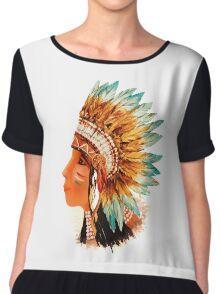 Native American Indian Shief  Chiffon Top