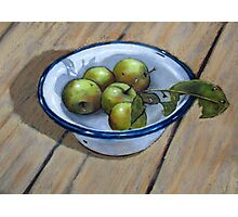 Green Apples in Old Enamel Bowl, Oil Pastel Painting Photographic Print
