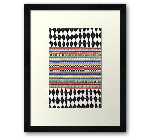 black and white harlequin pattern with bright stripes Framed Print