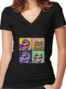 Wario Warhol Women's Fitted V-Neck T-Shirt