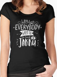 Why does everybody want to go back to Jakku Women's Fitted Scoop T-Shirt