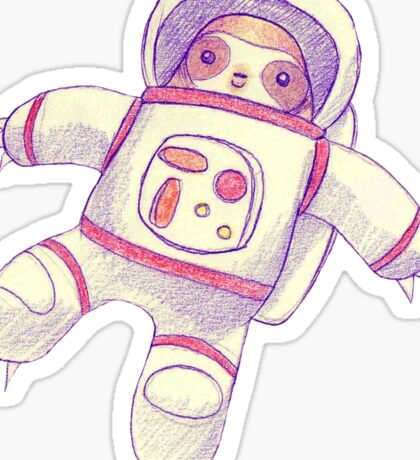 Astronaut Sloth Drawing Sticker