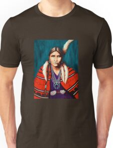 Navajo Woman in Red Unisex T-Shirt