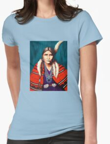 Navajo Woman in Red Womens Fitted T-Shirt