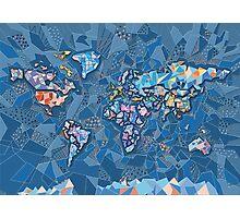 world map geometry 2 Photographic Print