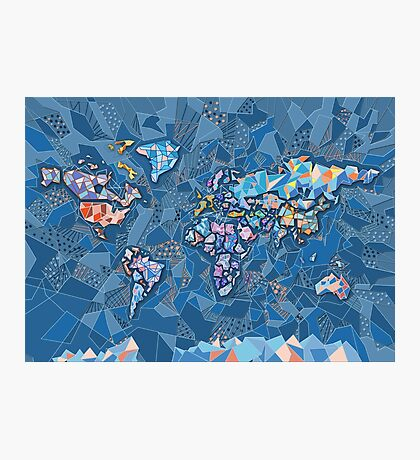 world map geometry 2 Photographic Print