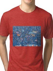 world map geometry 2 Tri-blend T-Shirt
