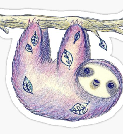 Purple Leaf Sloth Sticker