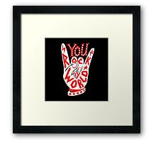 You rock my world lettering typography sign illustration in white and red. Framed Print