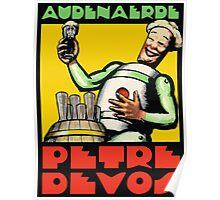 1930s Audenaerde Petre-Devos Belgian Beer advert retro style Poster